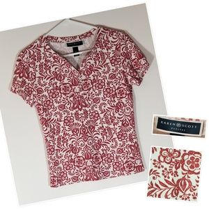Karen Scott Shirt - Red and White Floral, PS, EUC
